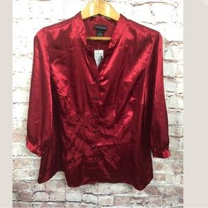 Lane Bryant Red Silky Blouse 3/4 Sleeve New 14/16